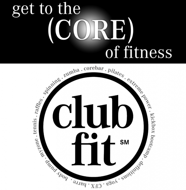 Clubfit logo and the text: get to the core of fitness
