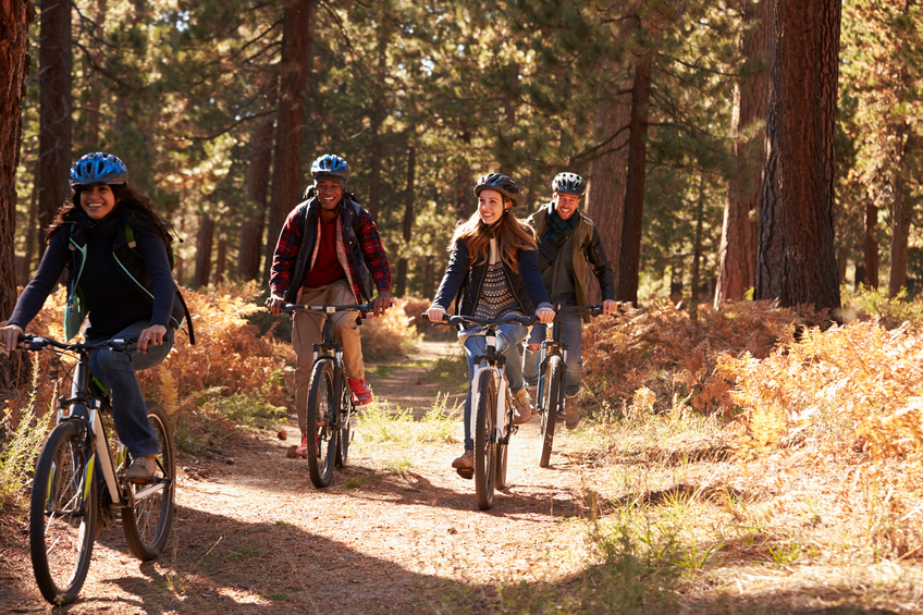 friends riding bikes on a forest path