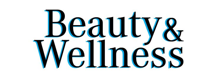 Text blue and black that say Beauty and Wellnes