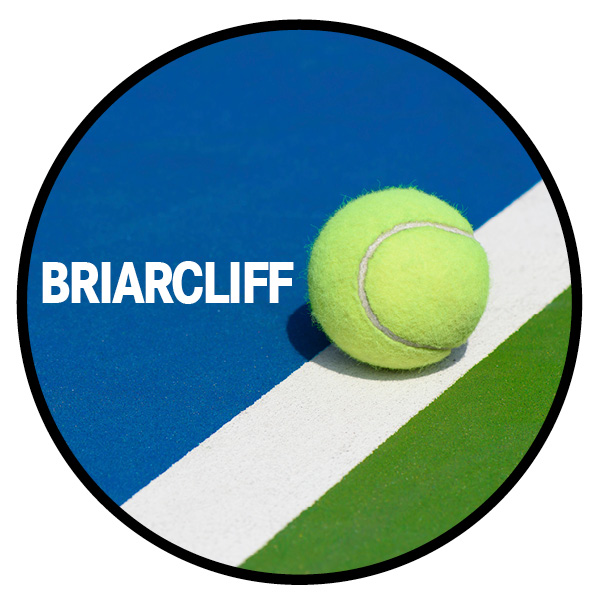 A circle with a tennis ball and text: Briarcliff
