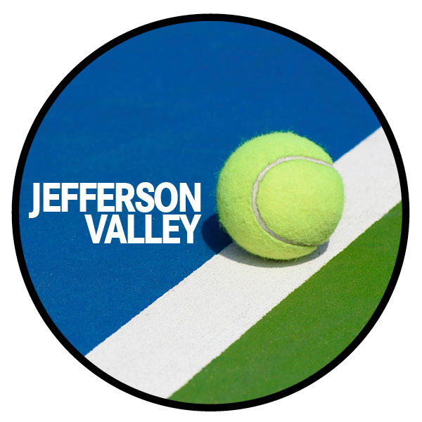 A circle with a tennis ball and text: Jefferson Valley