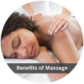 Woman receiving a massage en the text Benefits of massage.